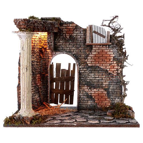 Hausfassade mit Säule und Licht 45x30x40cm für Krippe 1