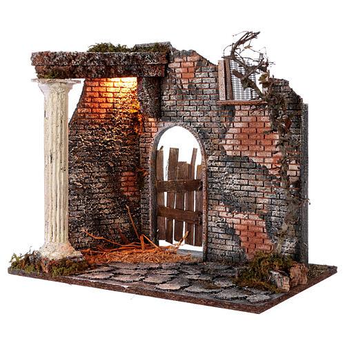 Hausfassade mit Säule und Licht 45x30x40cm für Krippe 2