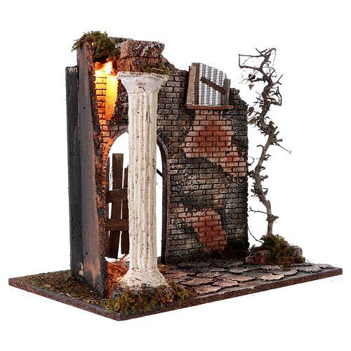 Hausfassade mit Säule und Licht 45x30x40cm für Krippe 3