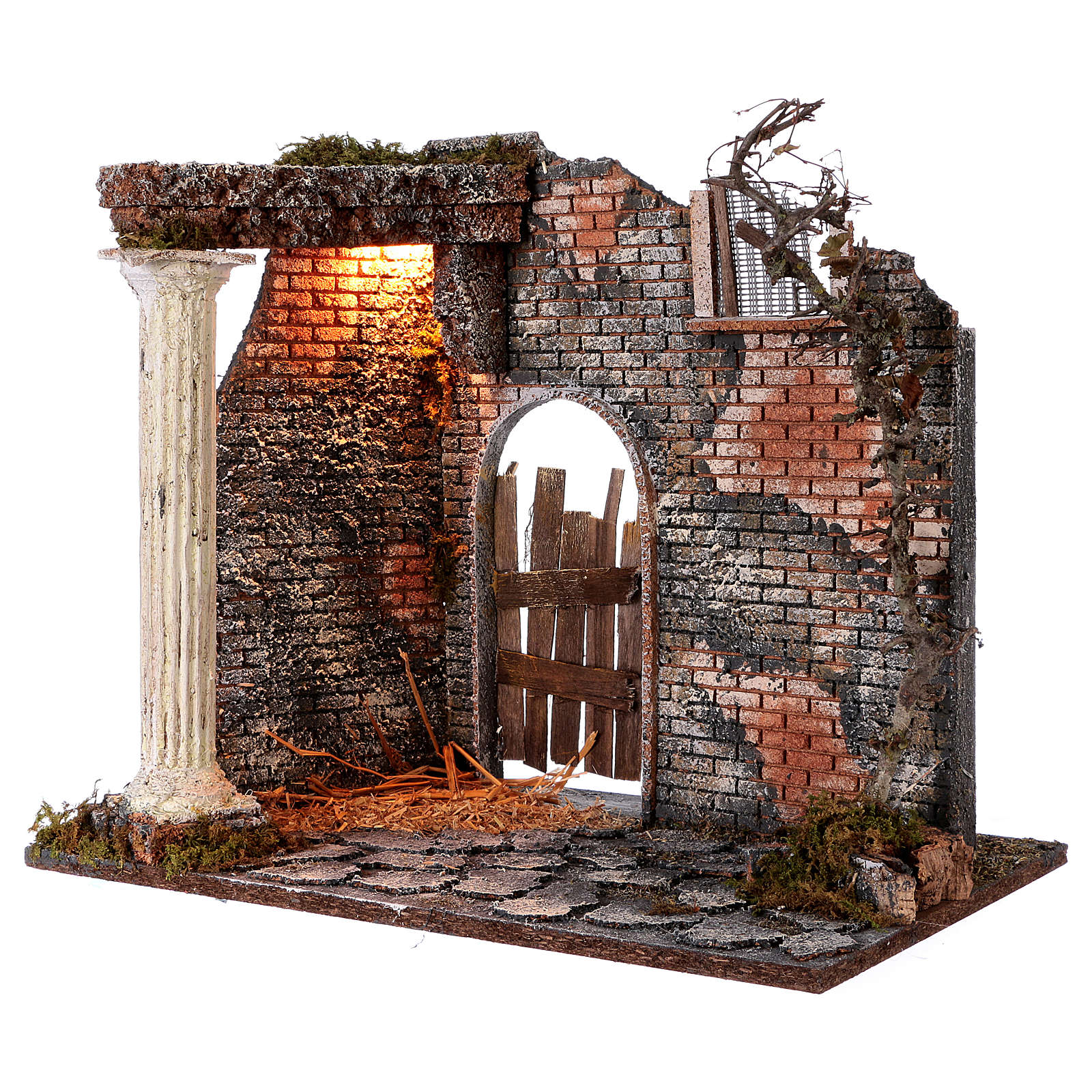 Illuminated temple with pillar for Nativity Scene 45x30x40 cm 4