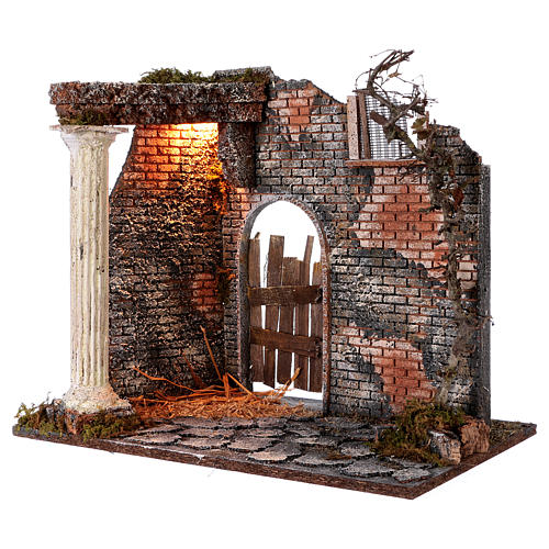 Illuminated temple with pillar for Nativity Scene 45x30x40 cm 2