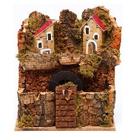 Nativity Watermill 15x15x10 cm Neapolitan s1