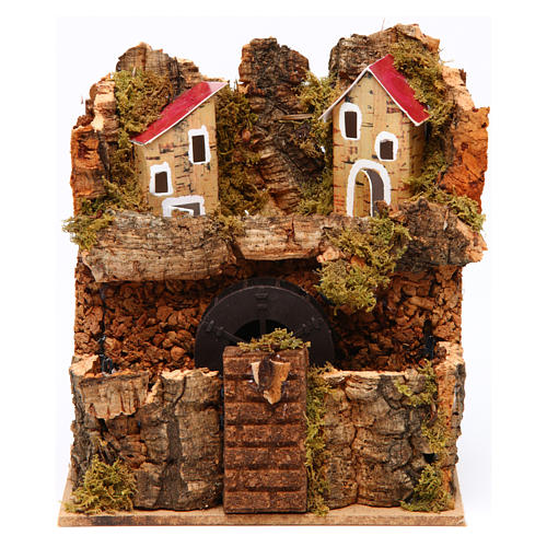 Nativity Watermill 15x15x10 cm Neapolitan 1