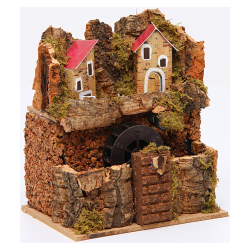 Nativity Watermill 15x15x10 cm Neapolitan 3