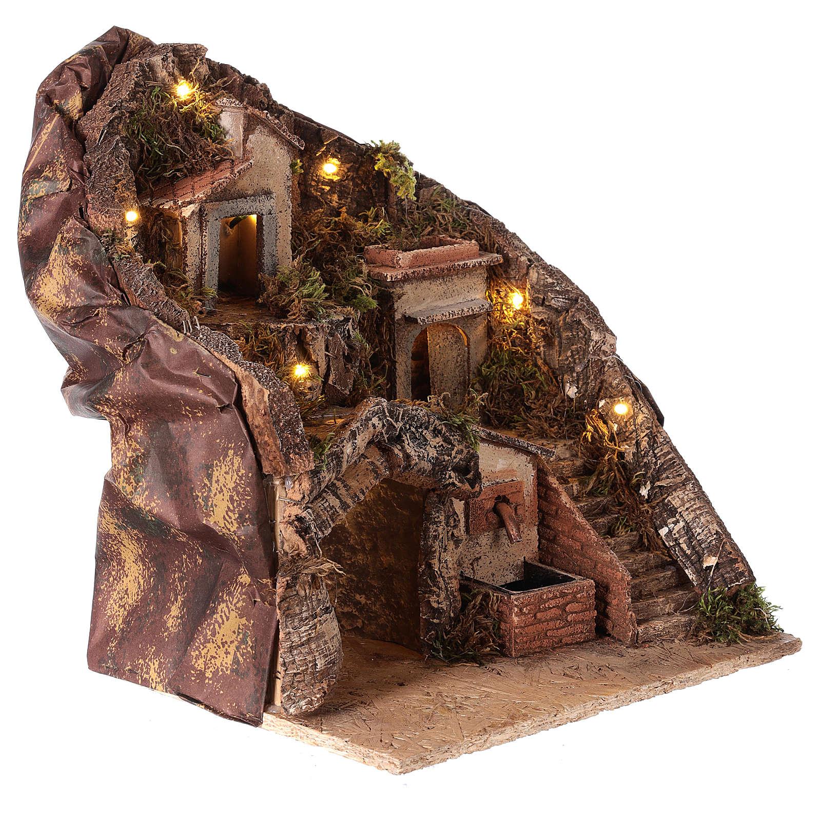 Hamlet for Neapolitan Nativity Scene with fountain and lights 35x30x30 cm 4