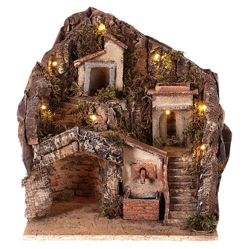 Hamlet for Neapolitan Nativity Scene with fountain and lights 35x30x30 cm 1