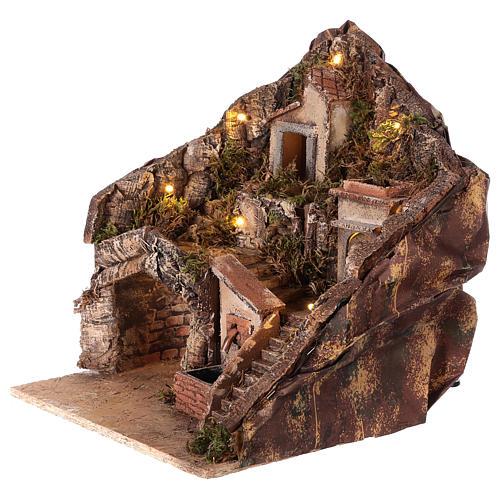 Hamlet for Neapolitan Nativity Scene with fountain and lights 35x30x30 cm 2