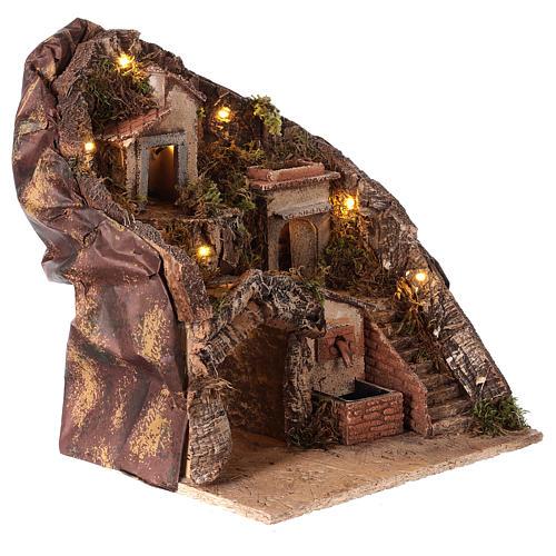 Hamlet for Neapolitan Nativity Scene with fountain and lights 35x30x30 cm 3