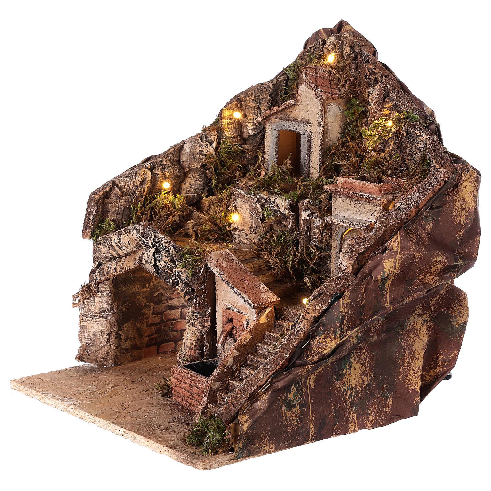 Borgo per presepe con fontana e luci 35x30x30 cm presepe napoletano 4