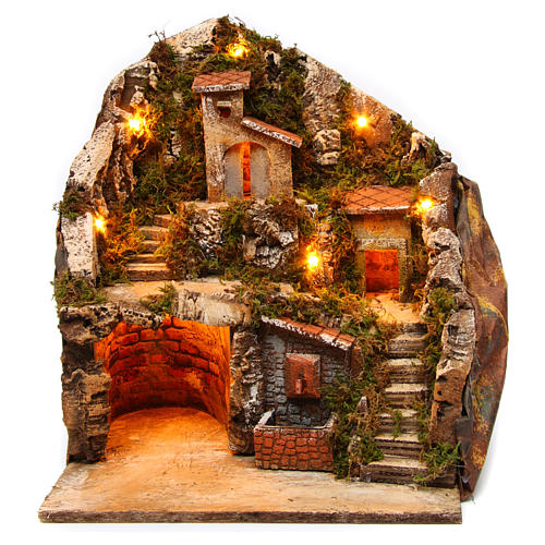 Village for Neapolitan Nativity Scene with fountain and lights 34x33x28 cm 1