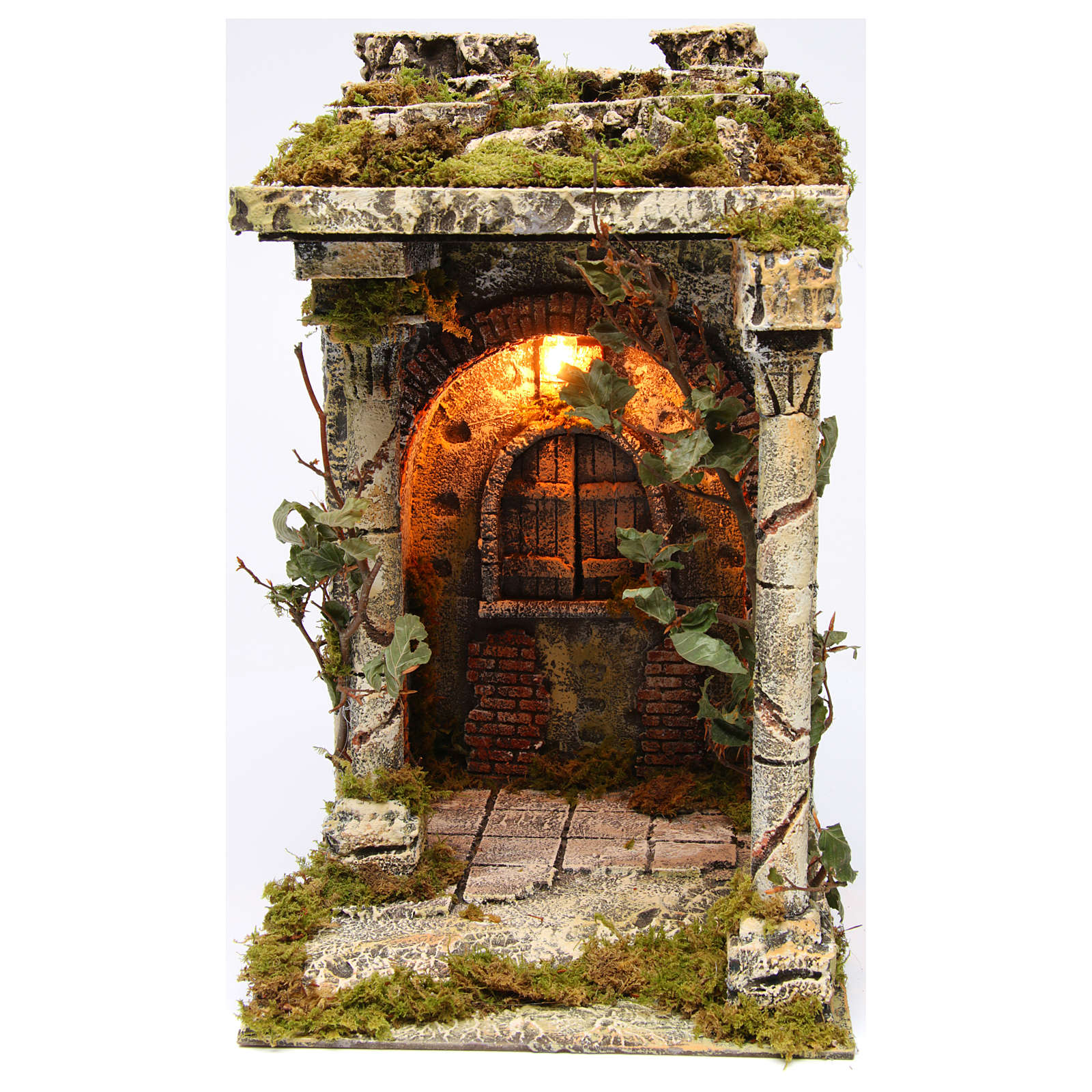 Old temple with pillars for Neapolitan Nativity scene 40x30x35 cm 4