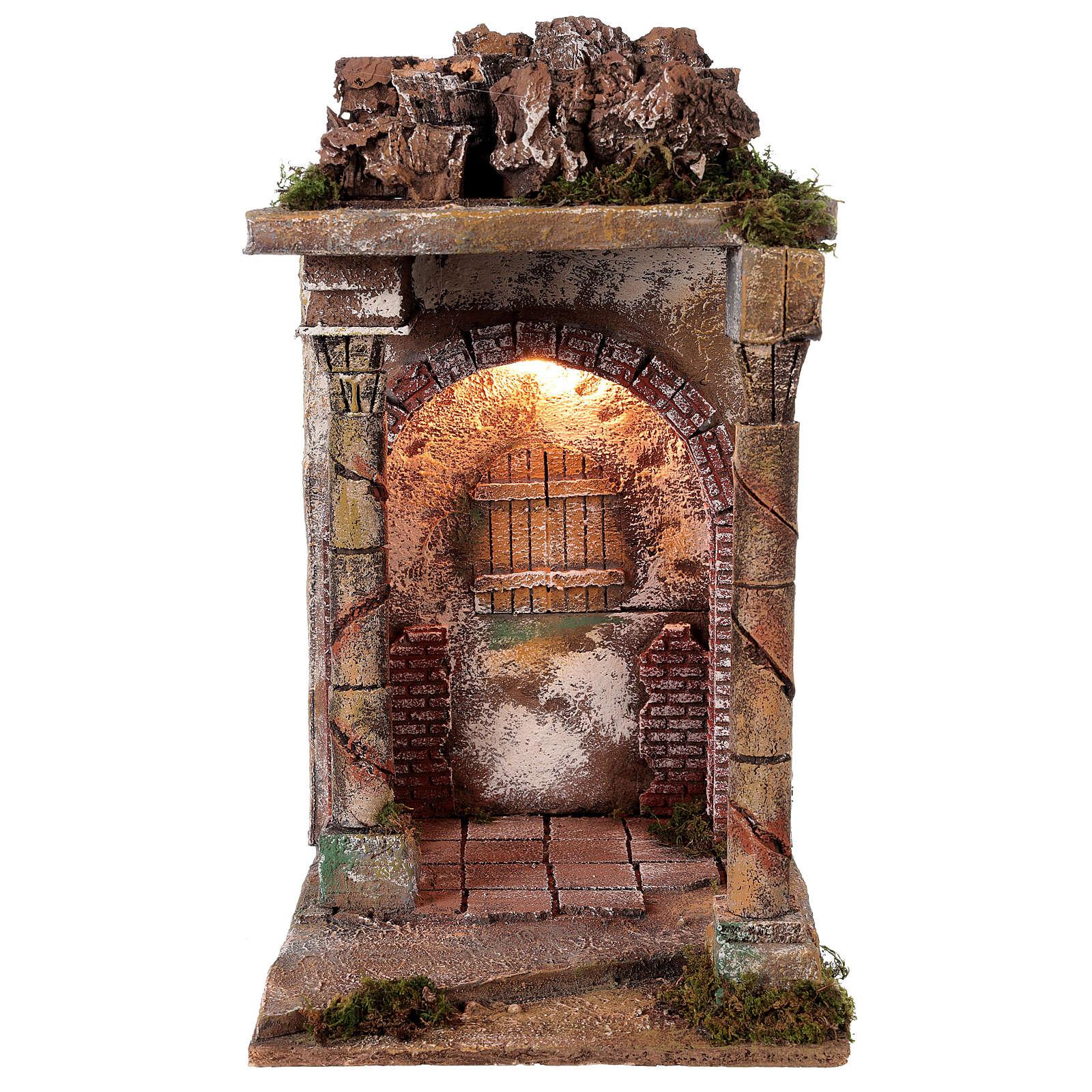 Tempio rustico con colonne 40x30x35 cm presepe napoletano 4