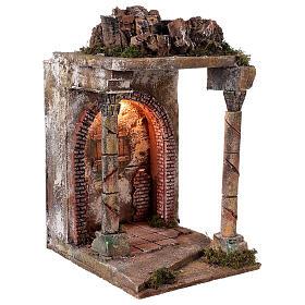 Tempio rustico con colonne 40x30x35 cm presepe napoletano s3