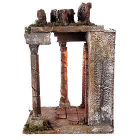Tempio rustico con colonne 40x30x35 cm presepe napoletano s4