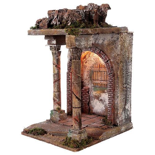 Tempio rustico con colonne 40x30x35 cm presepe napoletano 2