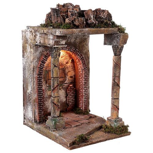 Tempio rustico con colonne 40x30x35 cm presepe napoletano 3