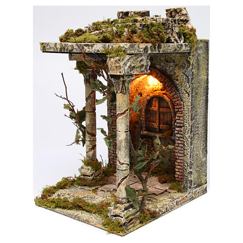 Rural temple with pillars for Neapolitan Nativity scene 40x30x35 cm 2