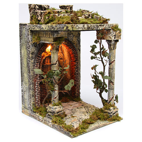 Rural temple with pillars for Neapolitan Nativity scene 40x30x35 cm 3