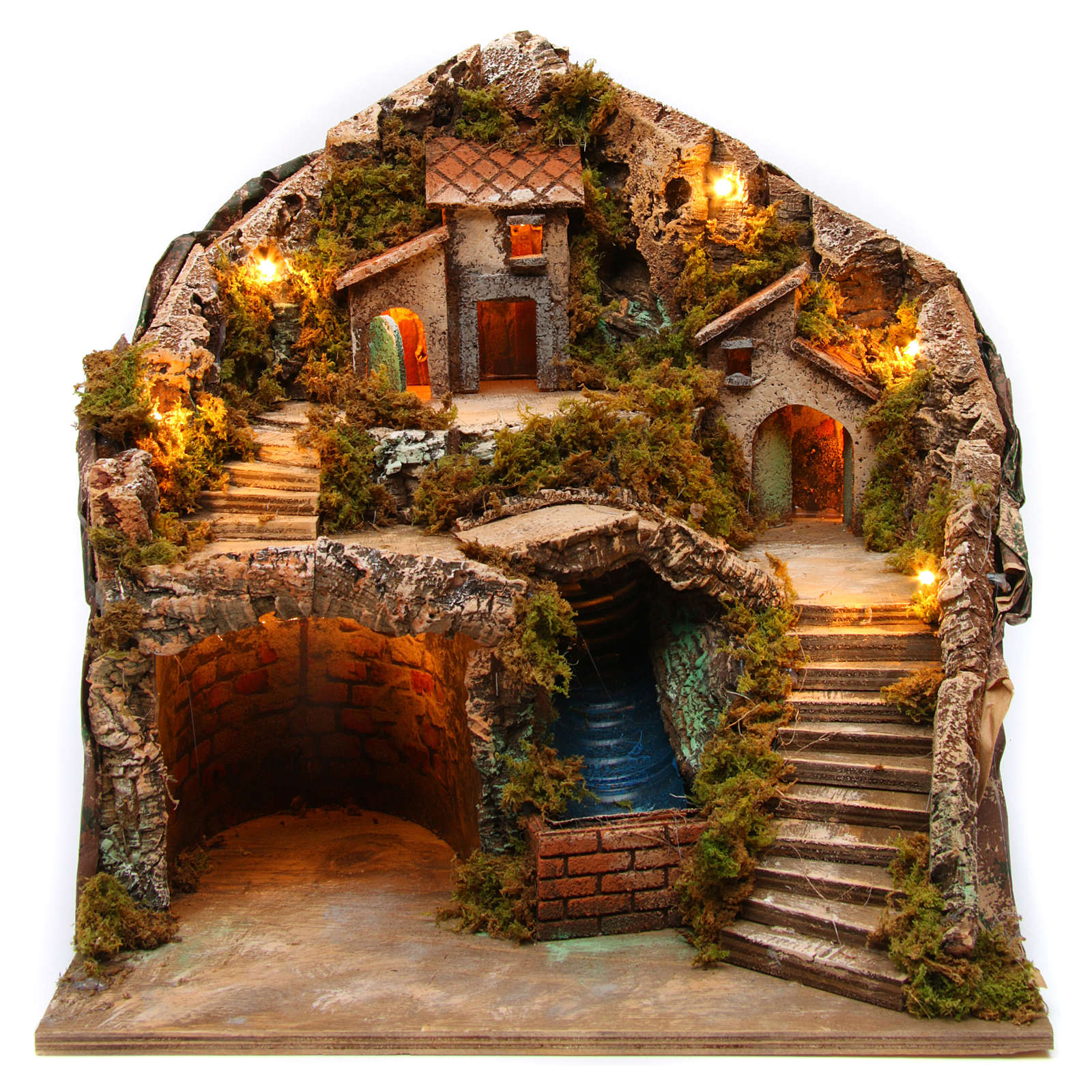 Village for Neapolitan Nativity scene with bridge and waterfall 35x40x30 cm 4