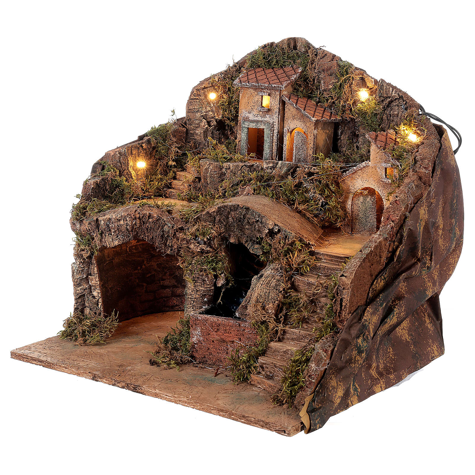 Village for Neapolitan Nativity scene with bridge and waterfall 35x40x30 cm 4