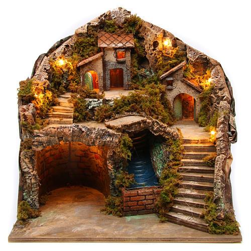 Village for Neapolitan Nativity scene with bridge and waterfall 35x40x30 cm 1