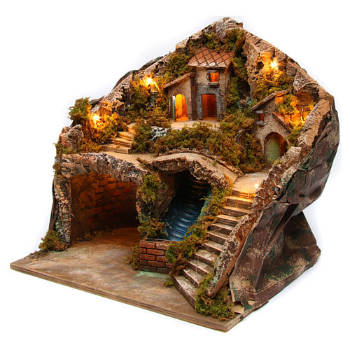 Village for Neapolitan Nativity scene with bridge and waterfall 35x40x30 cm 2