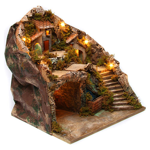 Village for Neapolitan Nativity scene with bridge and waterfall 35x40x30 cm 3