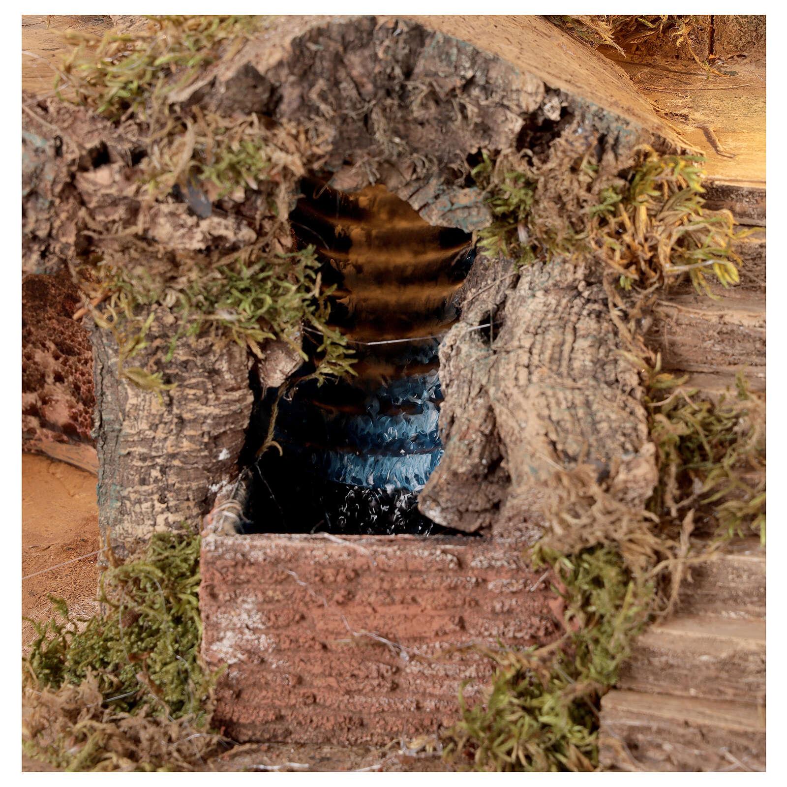 Aldea belén con puente y cascada 35x40x30 cm belén napolitano 4