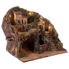 Borgo presepe con ponte e cascata 35x40x30 cm presepe napoletano s4