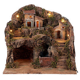 Setting for Neapolitan Nativity scene with bridge and waterfall 35x40x30 cm s1