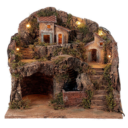 Setting for Neapolitan Nativity scene with bridge and waterfall 35x40x30 cm 1