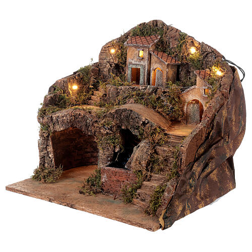 Setting for Neapolitan Nativity scene with bridge and waterfall 35x40x30 cm 3