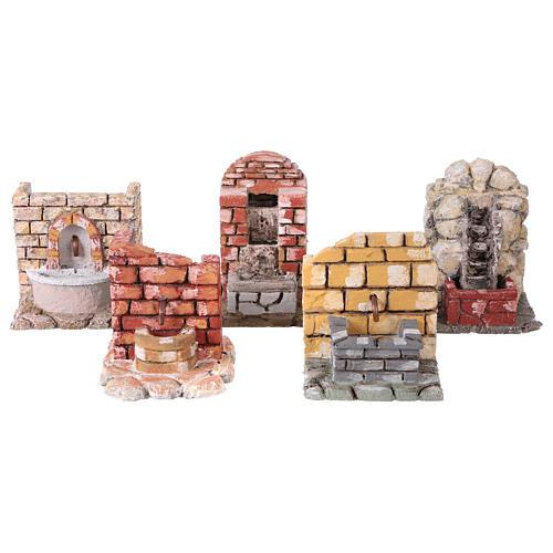 Set 5 fontane stuccate presepe napoletano 1