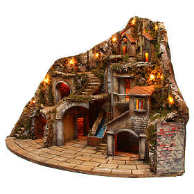 Village for Neapolitan Nativity scene with fire, lights, fountain and mill 75x105x80 cm s2