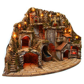 Village for Neapolitan Nativity scene with fire, lights, fountain and mill 75x105x80 cm s3