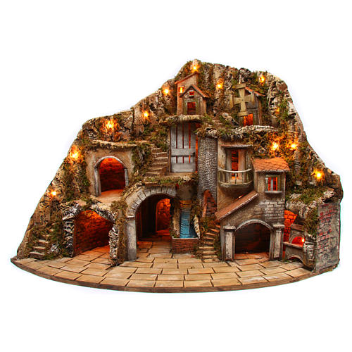 Village for Neapolitan Nativity scene with fire, lights, fountain and mill 75x105x80 cm 1