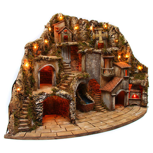 Village for Neapolitan Nativity scene with fire, lights, fountain and mill 75x105x80 cm 3