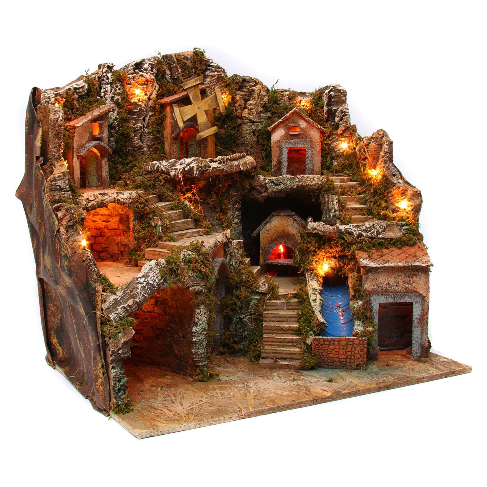 Village setting for Neapolitan Nativity scene with lights 55x65x50 cm 4