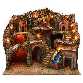 Village setting for Neapolitan Nativity scene with lights 55x65x50 cm s1