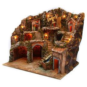 Village setting for Neapolitan Nativity scene with lights 55x65x50 cm s2