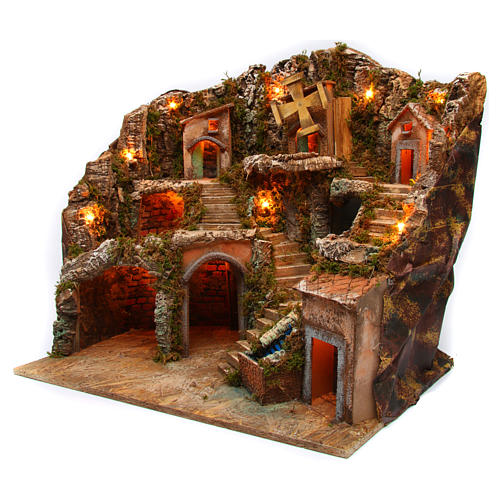 Village setting for Neapolitan Nativity scene with lights 55x65x50 cm 2