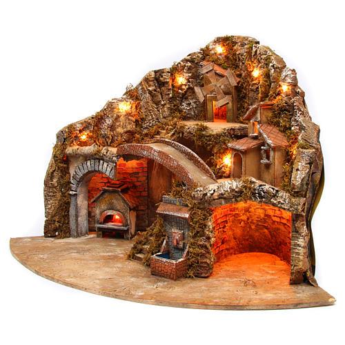Aldea completa napolitana luces molino fuego 60x85x60 cm 2