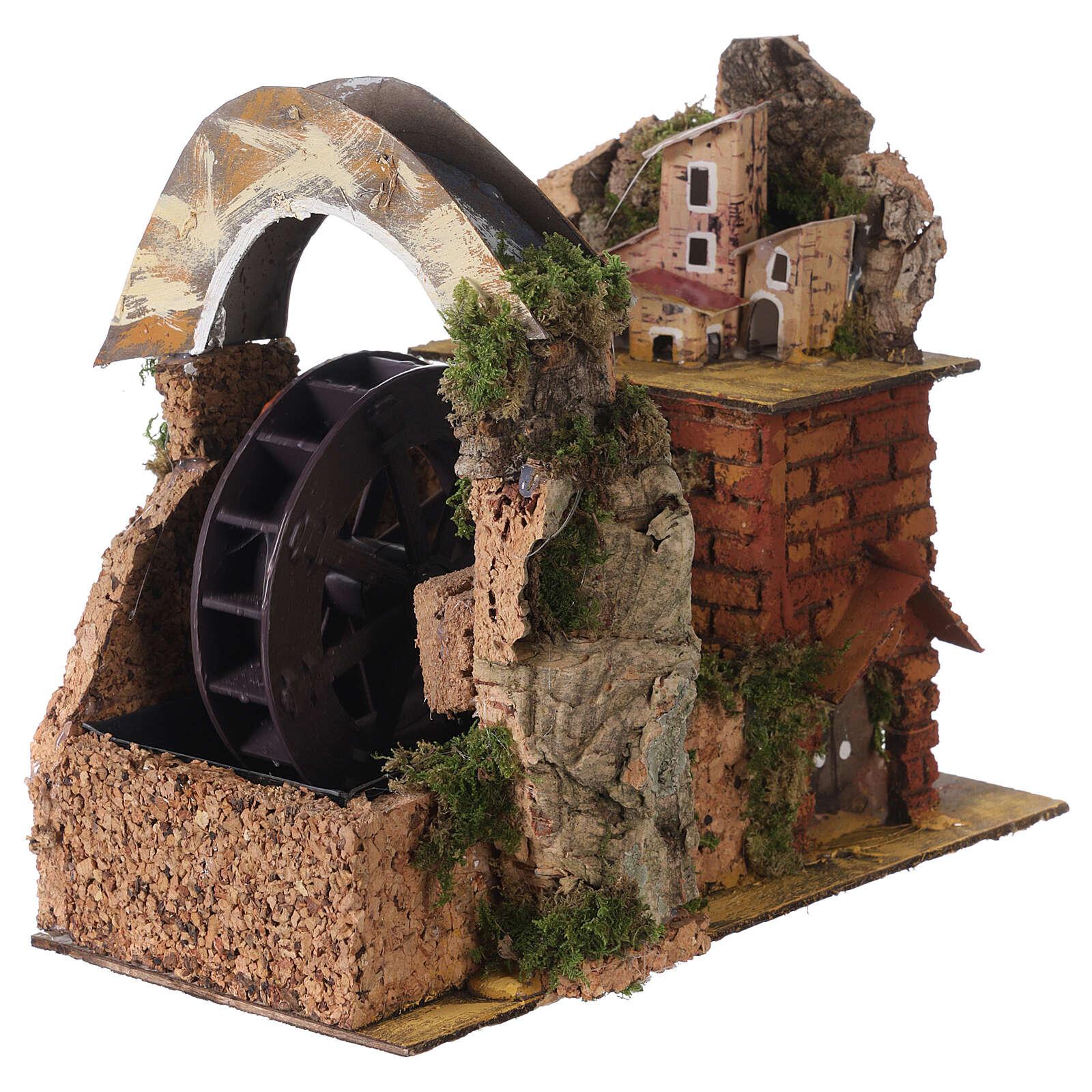 Watermill with bridge for Neapolitan Nativity Scene 20x15x20 cm 4