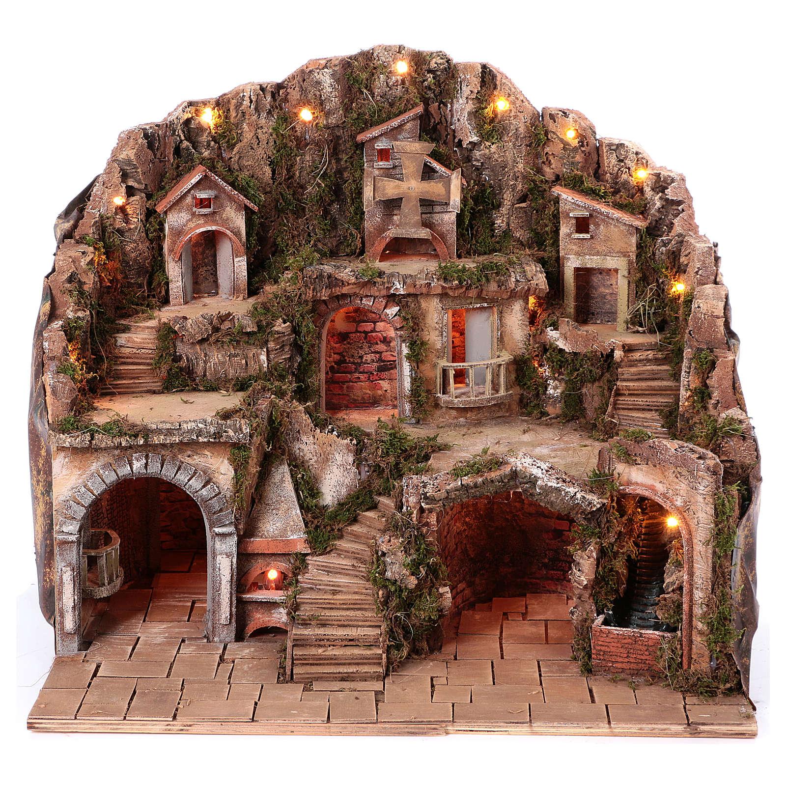 Village setting for Neapolitan Nativity scene 50x80x60 cm 4