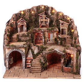 Village setting for Neapolitan Nativity scene 50x80x60 cm s1