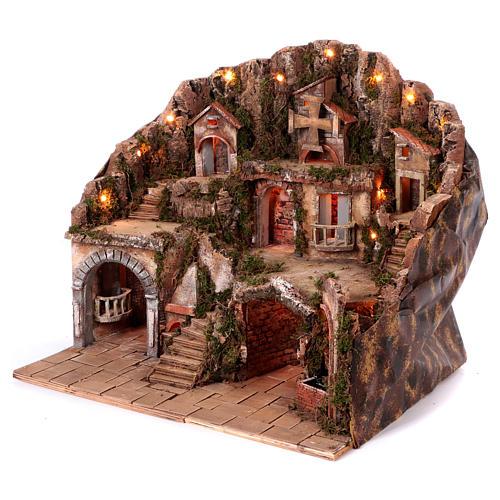 Village setting for Neapolitan Nativity scene 50x80x60 cm 2