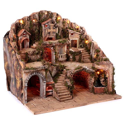 Village setting for Neapolitan Nativity scene 50x80x60 cm 3
