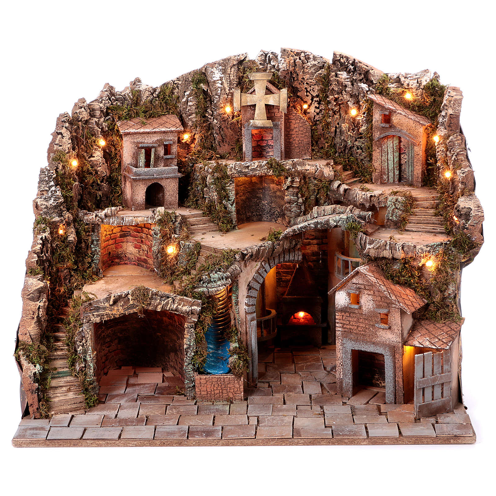 Neapolitan Nativity scene village setting 70x85x60 cm 4
