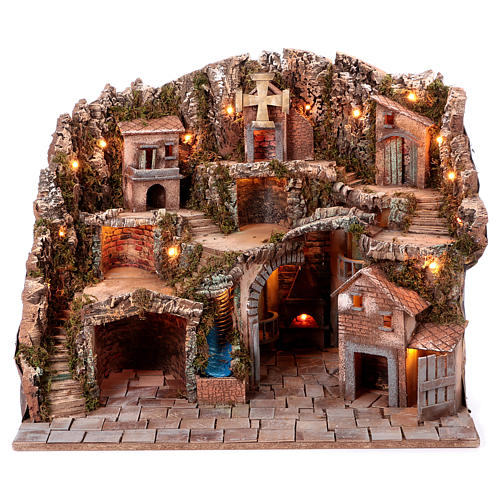 Neapolitan Nativity scene village setting 70x85x60 cm 1
