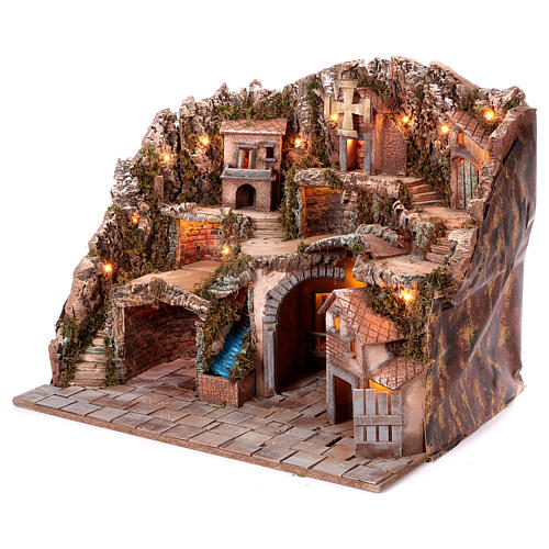 Neapolitan Nativity scene village setting 70x85x60 cm 2